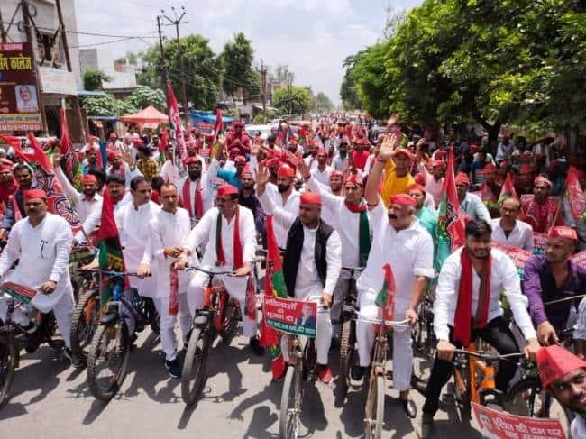 सपा ने महंगाई, भ्रष्टाचार के विरोध में निकाली साइकिल यात्रा